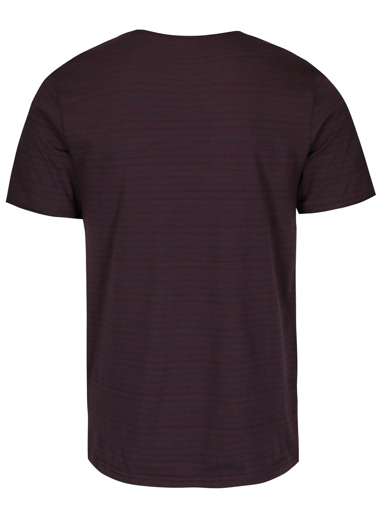 Tricou rosu bordo cu dungi ONLY & SONS Albert Stripe