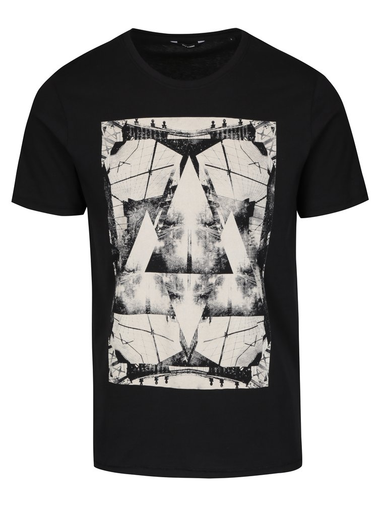 Tricou negru cu print ONLY&SONS Heine
