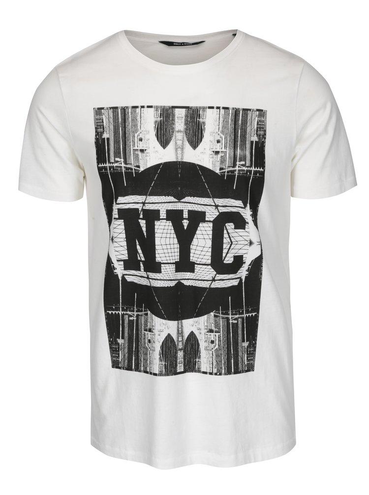 Krémové tričko s potiskem ONLY & SONS Heine