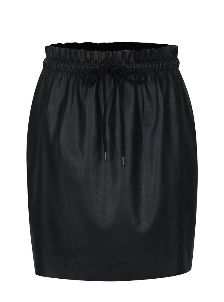 Černá koženková sukně s pružným pasem VERO MODA Riley