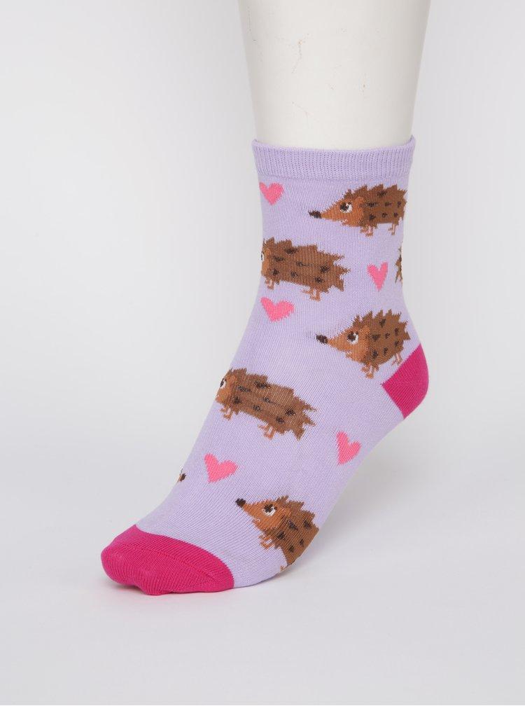 Růžovo-Fialové holčičí ponožky s ježky Sock It to Me Hedgehog
