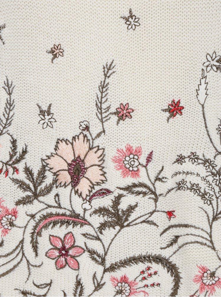 Pulover crem cu broderie florala VERO MODA Garden