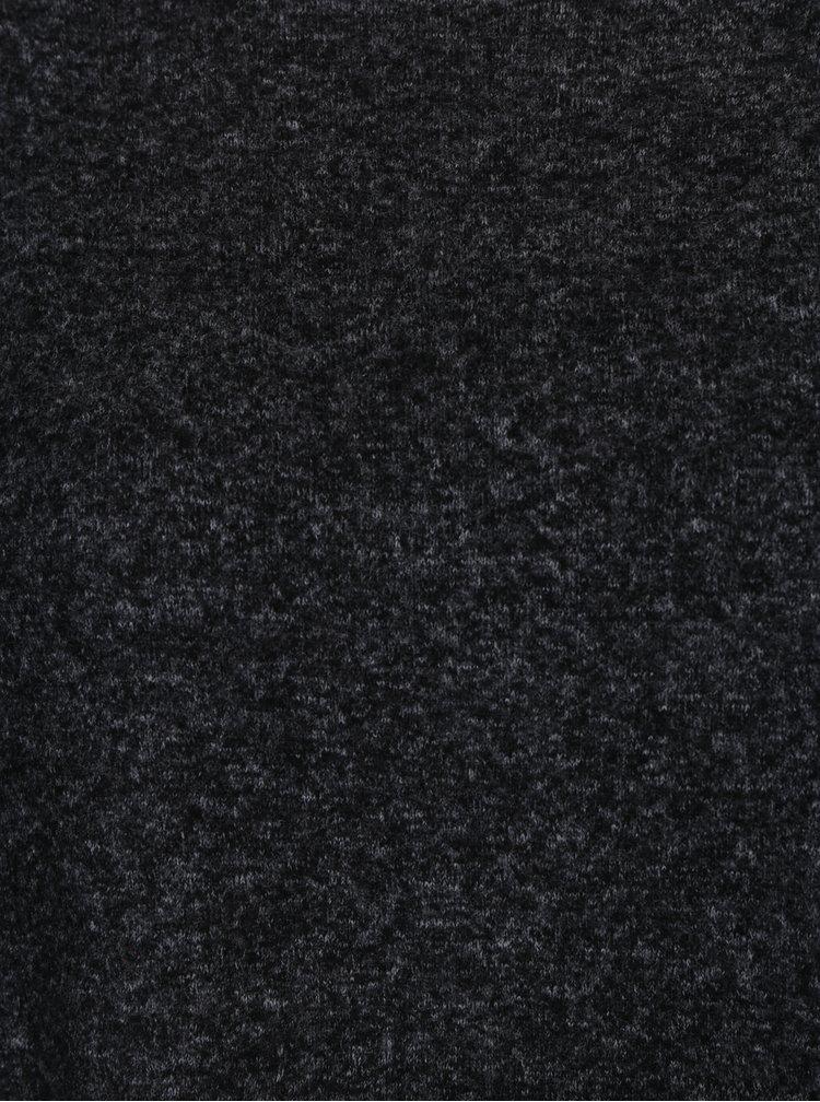 Tmavosivý melírovaný sveter s dlhým rukávom ONLY Kleo
