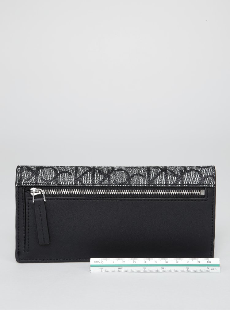 Šedo-černá vzorovaná peněženka Calvin Klein Jeans Marissa