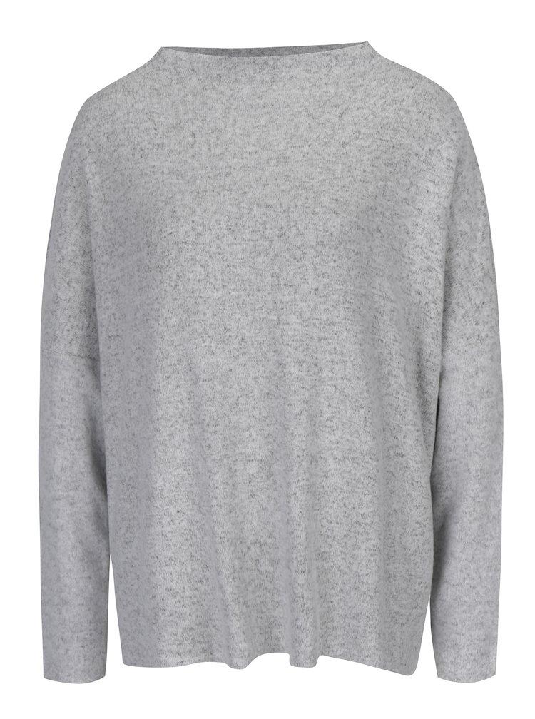 Světle šedý žíhaný svetr s dlouhým rukávem ONLY Kleo