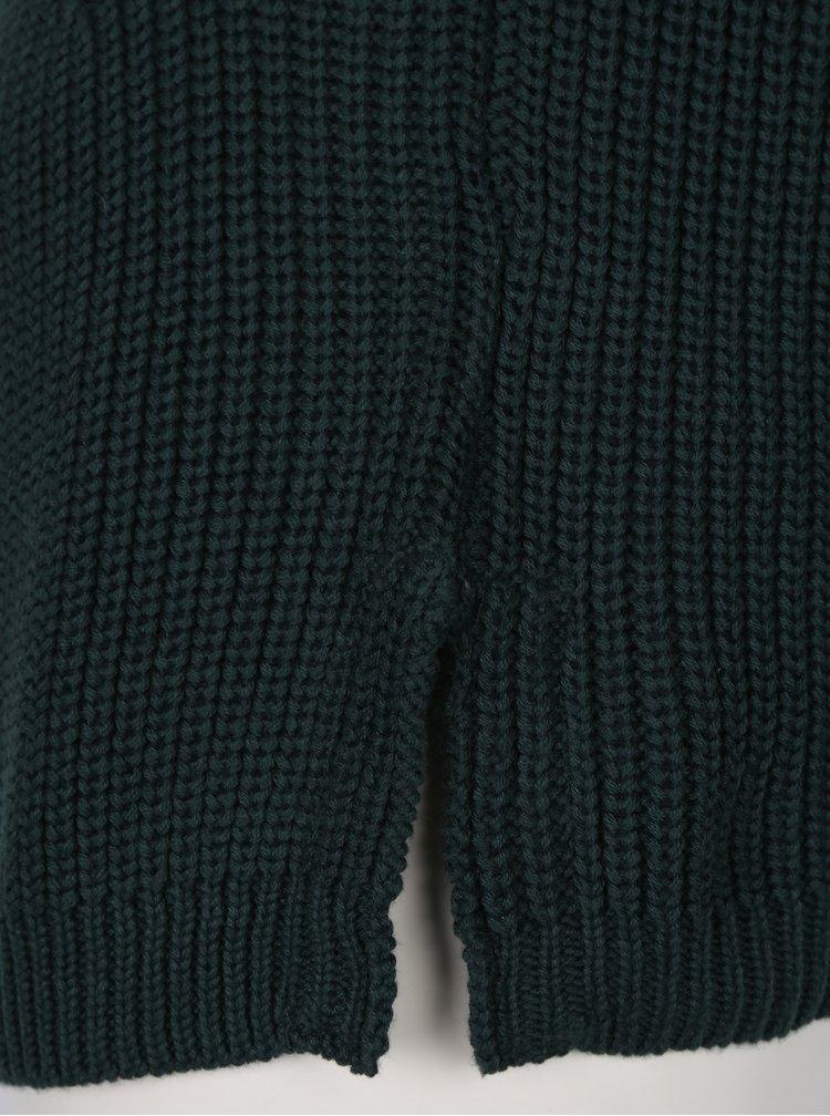 Tmavě zelený svetr s knoflíky ve zlaté barvě VERO MODA Signe