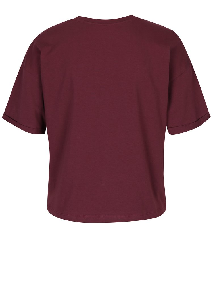 Fialový oversize crop top Calvin Klein Jeans Teco