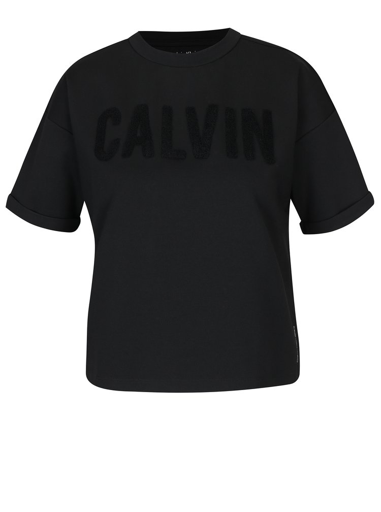 Černý oversize crop top s výšivkou Calvin Klein Jeans Teco