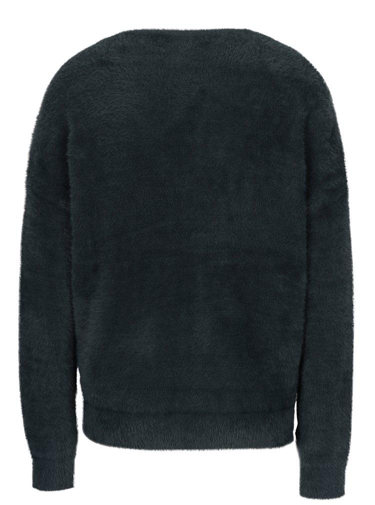Tmavě zelený volný svetr s véčkovým výstřihem VERO MODA Moraga