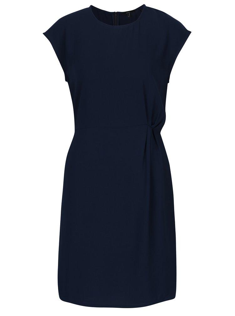 Tmavě modré šaty s řasením na boku VERO MODA Nice