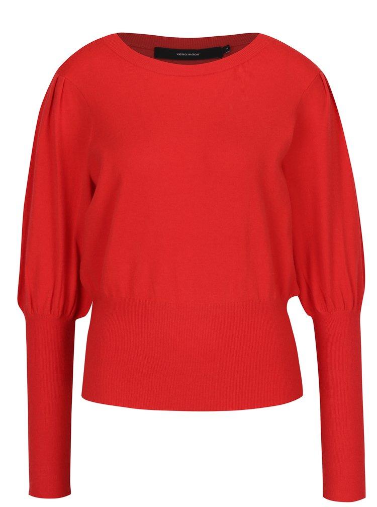 Červený svetr s balónovými rukávy VERO MODA Mace