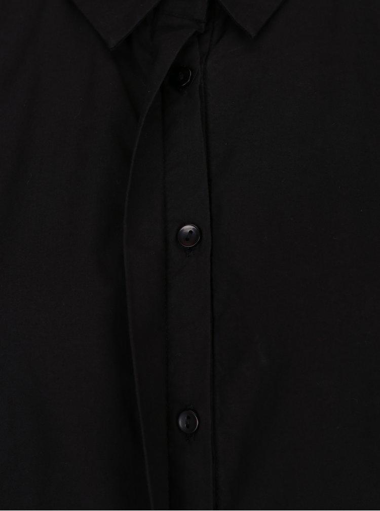 Černá košile s dlouhým skládaným rukávem VERO MODA Thea