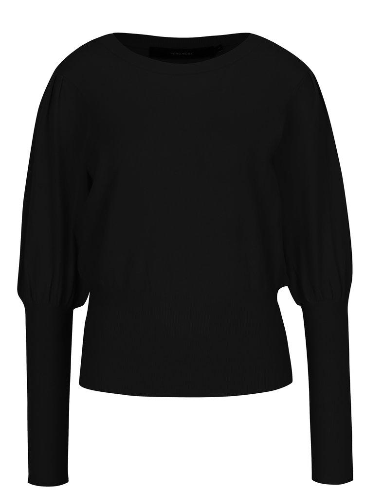 Černý svetr s balónovými rukávy VERO MODA Mace