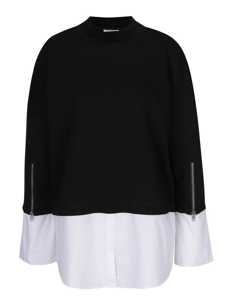 Černá tunika s všitou košilí Noisy May Saga