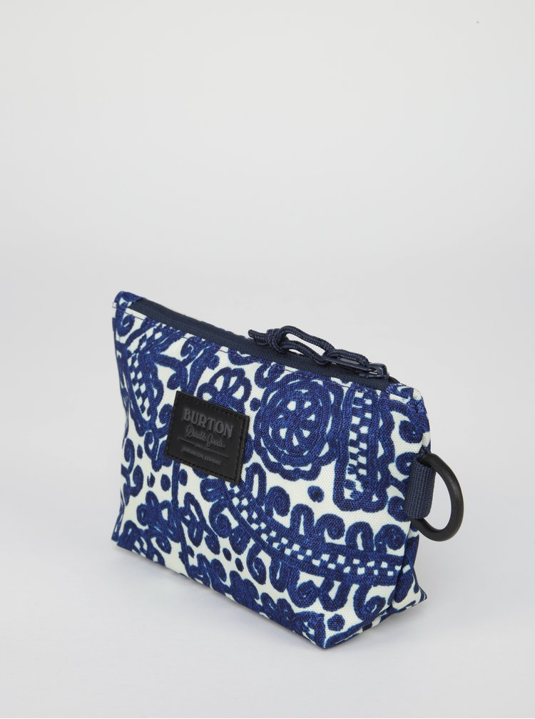 Krémovo-modrá dámská vzorovaná kosmetická taštička Burton Utility