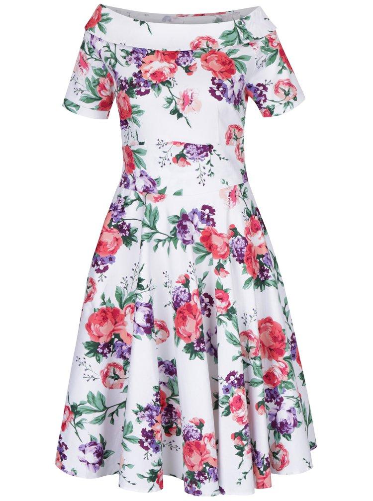 Bílé květované šaty s lodičkovým výstřihem Dolly & Dotty Darlene