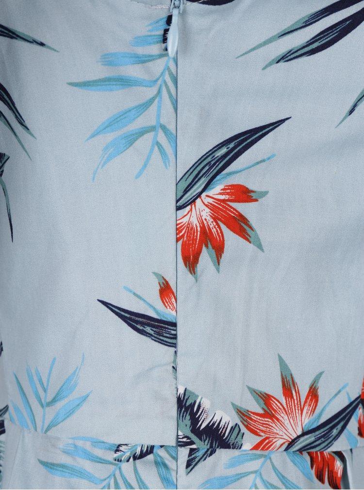 Světle modré šaty s tropickým vzorem Dolly & Dotty Vanessa