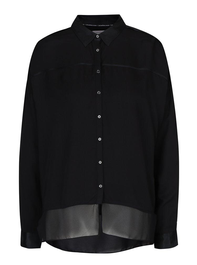 Černá dámská halenka s hedvábnými detaily Calvin Klein Jeans Wrai