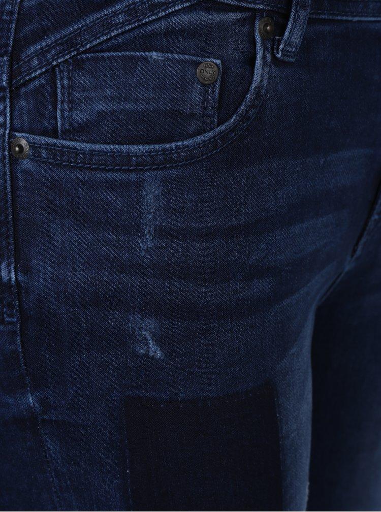 Tmavě modré skinny džíny se záplatami ONLY Cool