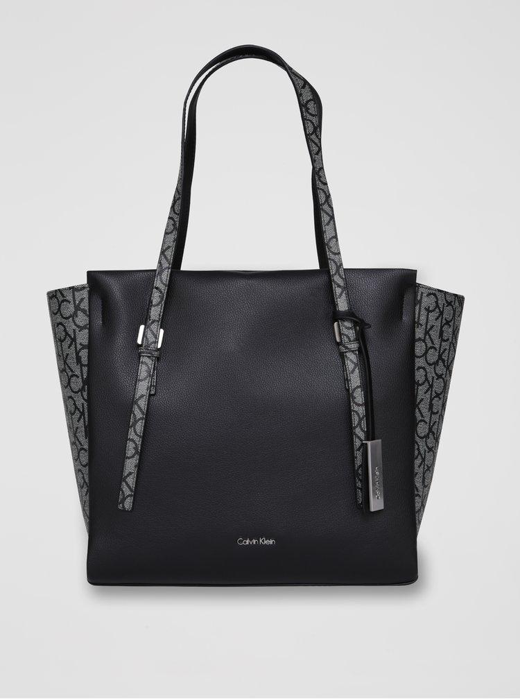 Bílo-černá vzorovaná kabelka Calvin Klein Jeans Marissa