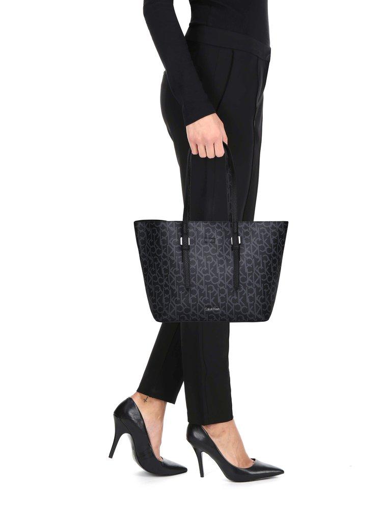 Černá vzorovaná kabelka s pouzdrem 2v1 Calvin Klein Jeans Monogram