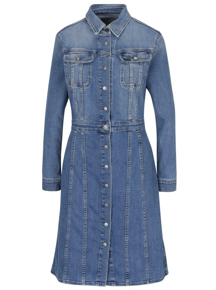 Modré džínové košilové šaty s dlouhým rukávem Lee