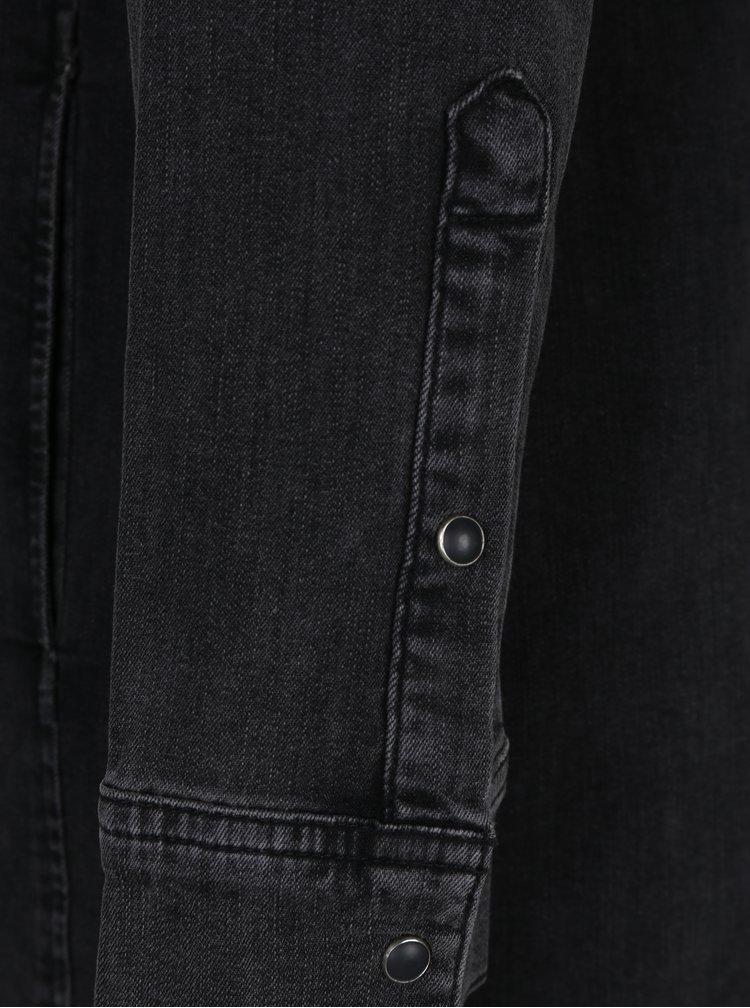 Tmavě šedé džínové košilové šaty s dlouhým rukávem Lee