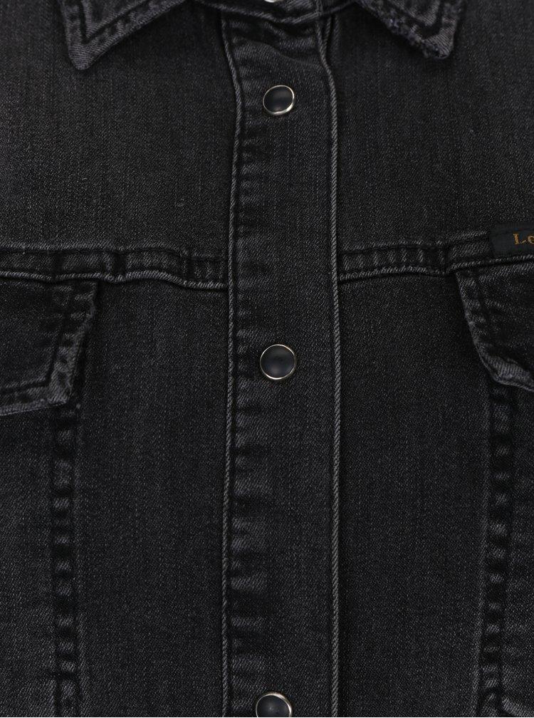 Camasa lunga gri inchis din denim Lee