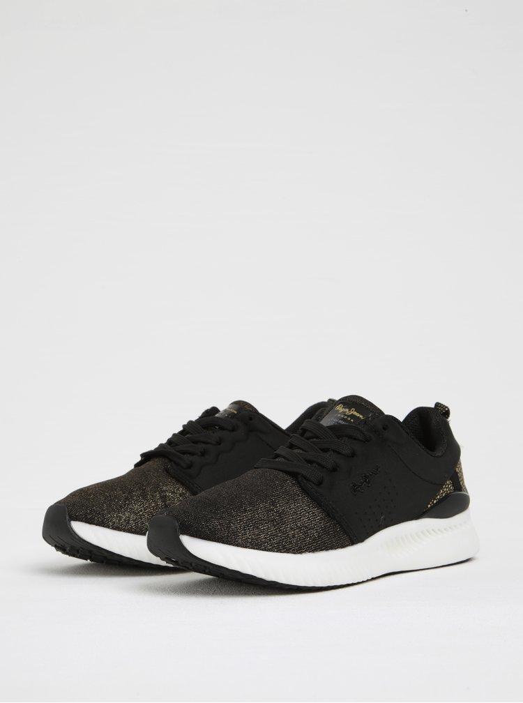 Pantofi sport pentru femei negru & auriu Pepe Jeans Sutton Laces