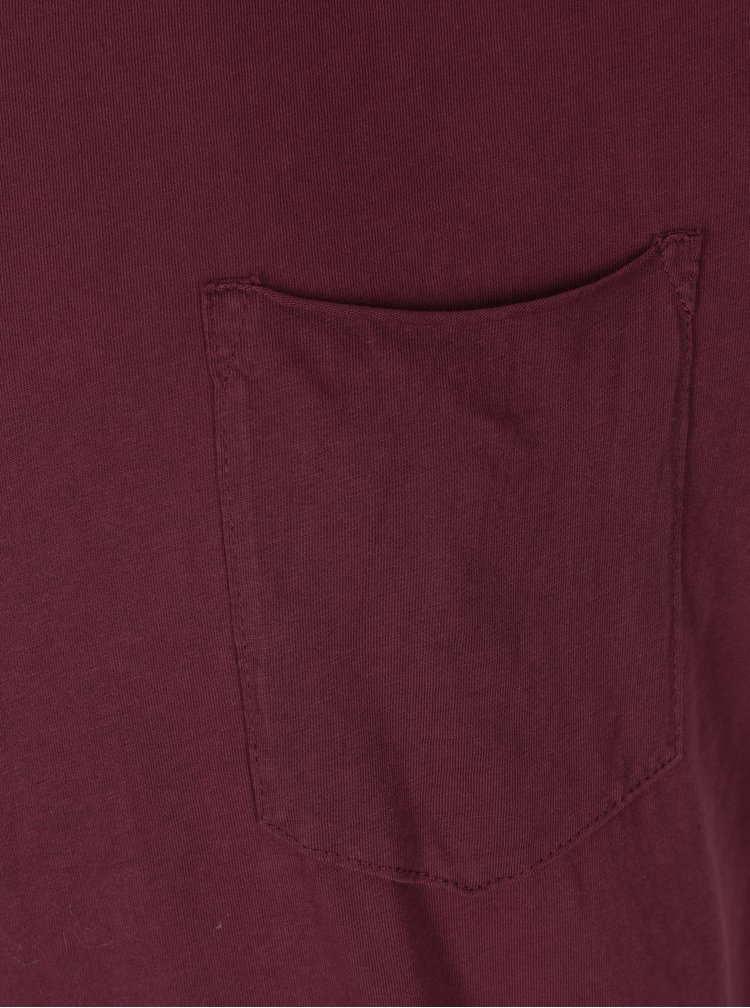 Tricou barbatesc bordo cu buzunar - Shine Original Andy