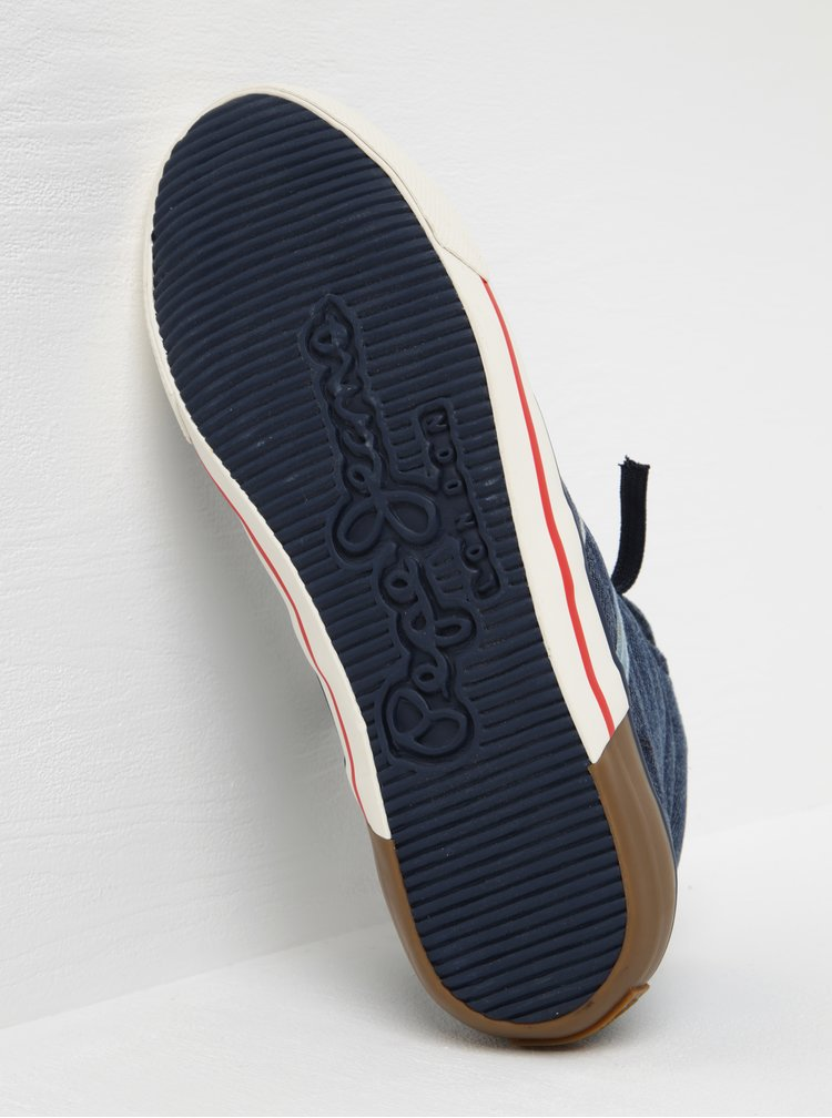 Modré pánské džínové kotníkové tenisky Pepe Jeans Serthi