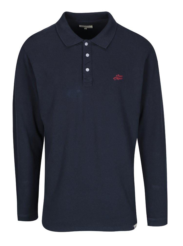Tmavomodré polo tričko s dlhým rukávom Shine Original
