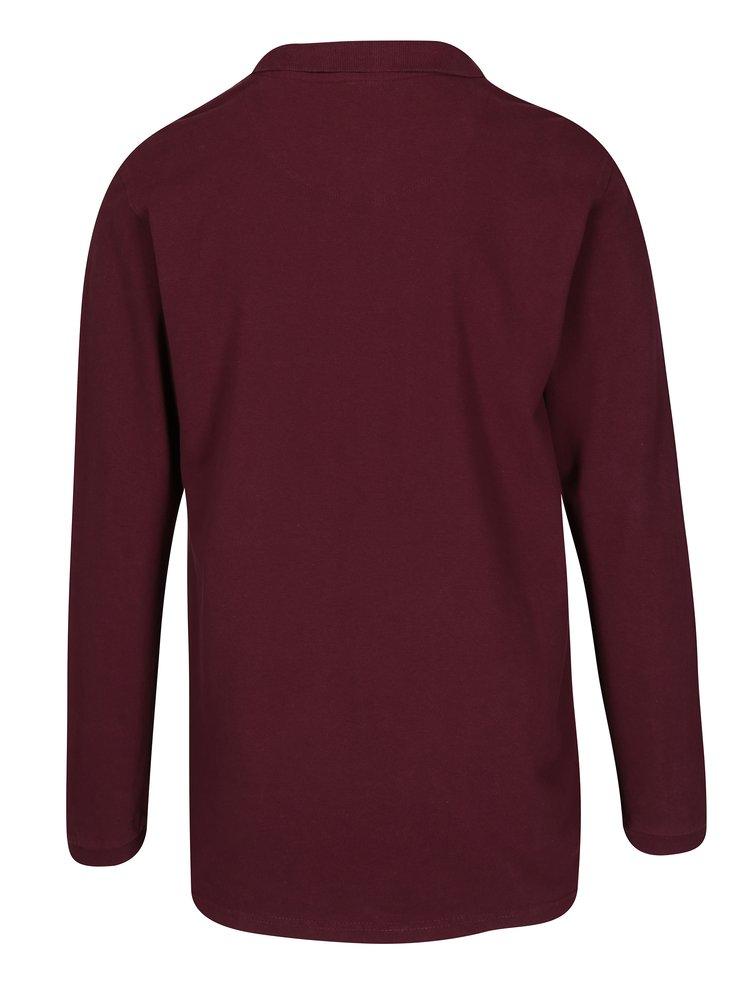 Vínové polo tričko s dlouhým rukávem Shine Original