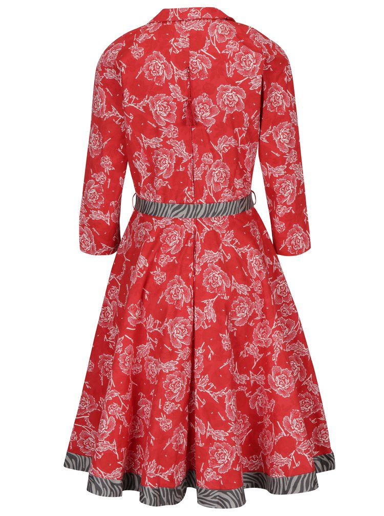 Červené květované šaty s 3/4 rukávem Blutsgeschwister