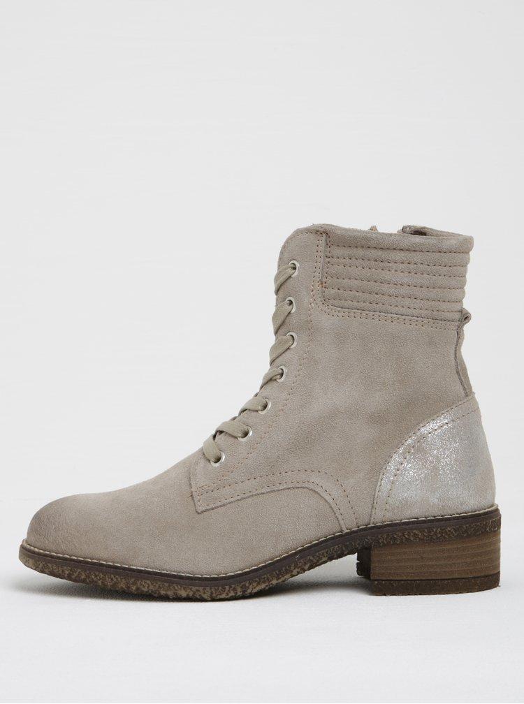 Béžové semišové kotníkové boty s třpytivou patou Tamaris