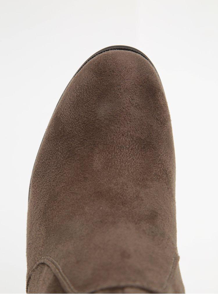 Hnědé vysoké kozačky v semišové úpravě Pieces Petra