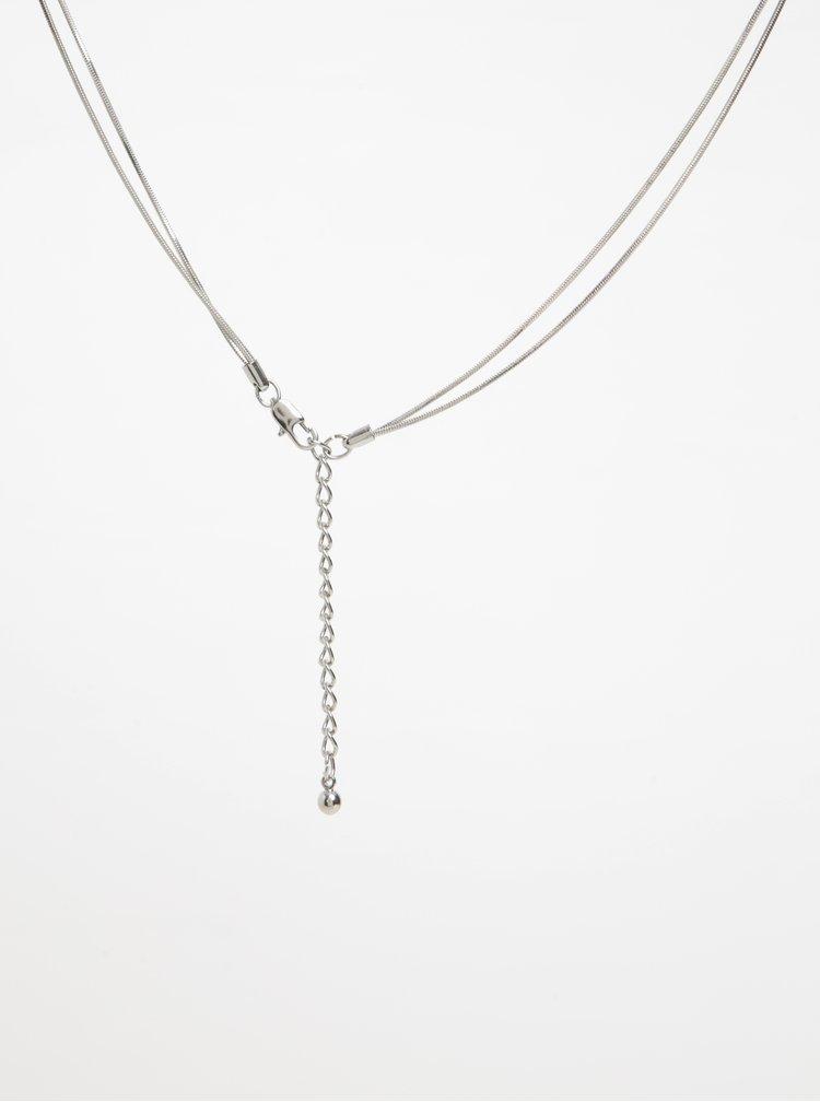 Dvojitý náhrdelník stříbrné barvě Pieces Nilo