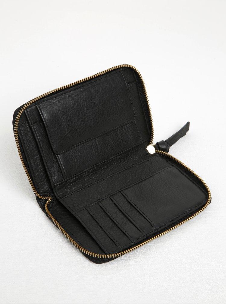 Portofel negru din piele cu detalii aurii si fermoar Pieces Jase