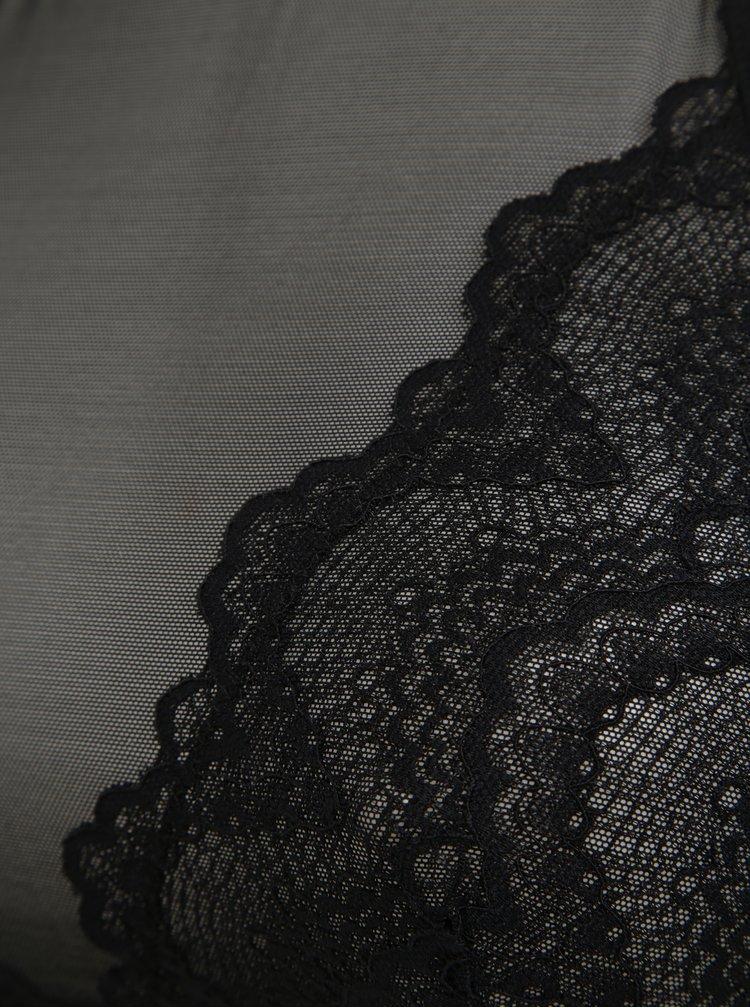 Čierna priesvitná čipkovaná podprsenka Pieces Alexis