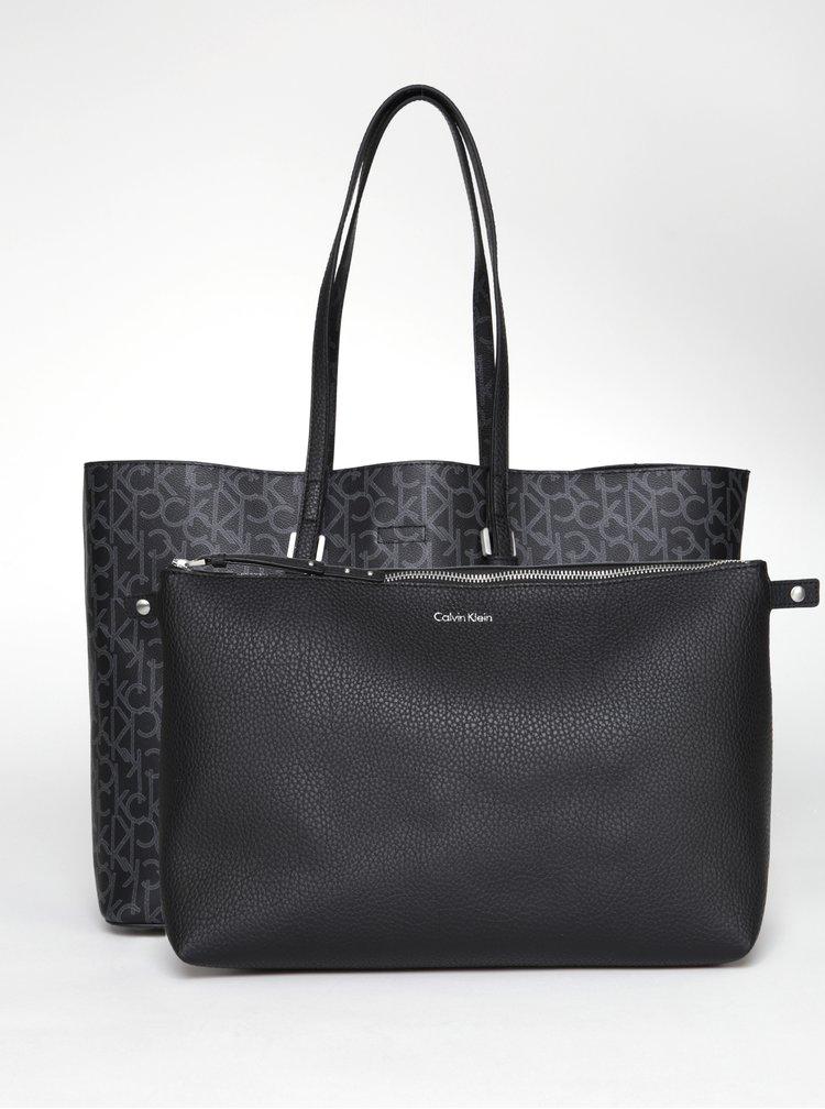 Šedo-černý vzorovaný shopper s pouzdrem 2v1 Calvin Klein Jeans Large Tote