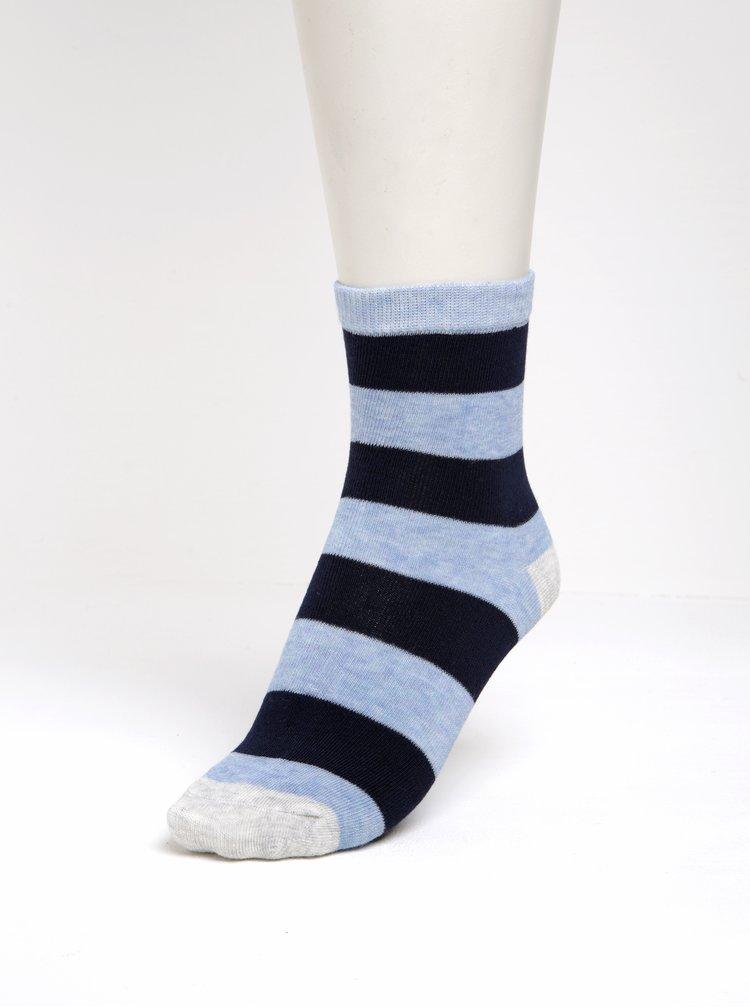 Sada tří párů klučičích pruhovaných ponožek v modré barvě 5.10.15.