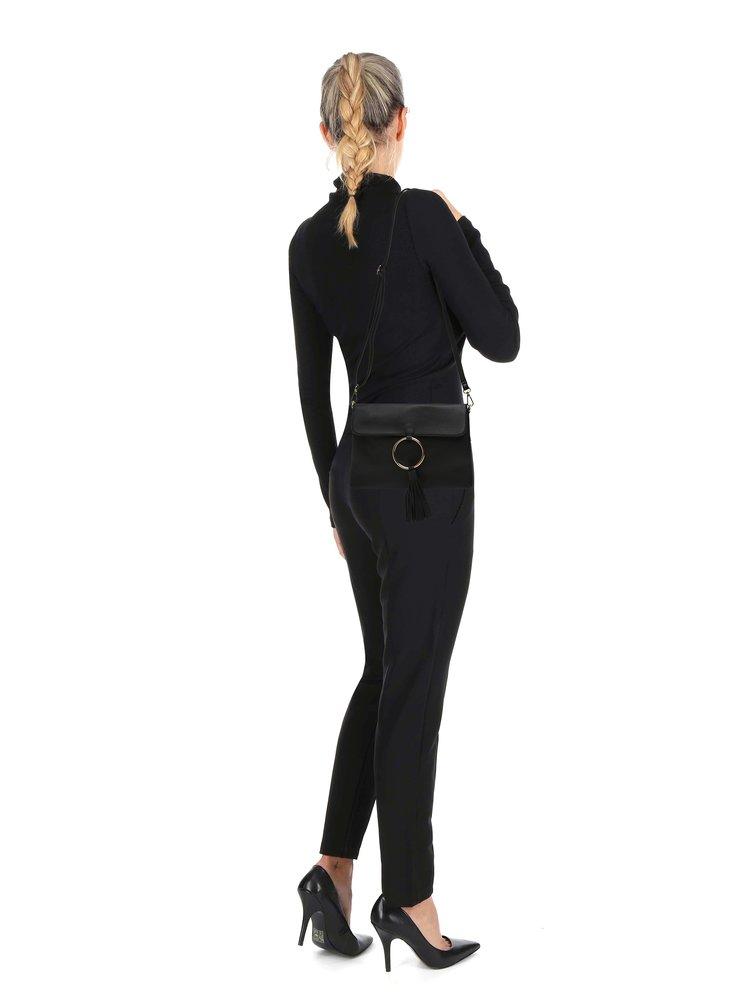 Geantă crossbody neagră cu detaliu auriu - Haily's Lorena
