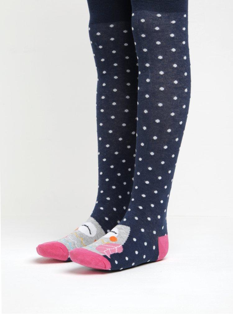Modré holčičí puntíkované punčocháče s motivem sovy 5.10.15.