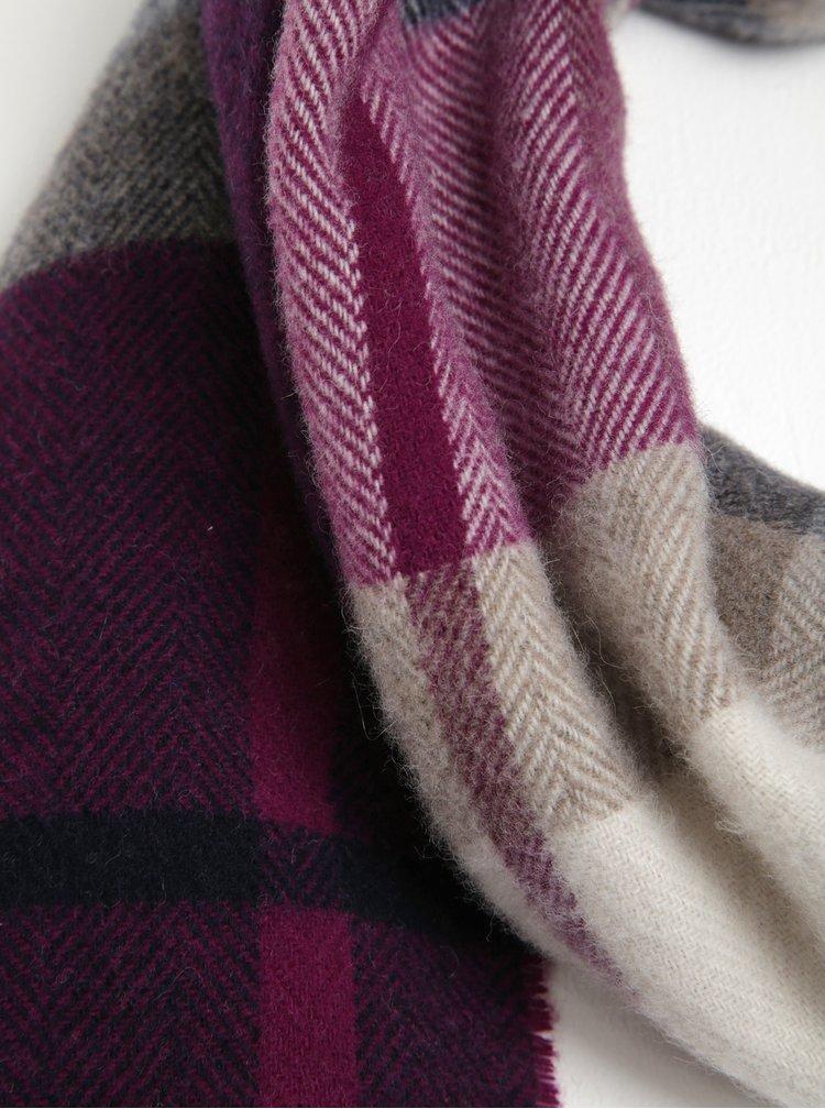 Krémovo-fialová dámská kostkovaná šála s příměsí vlny GANT
