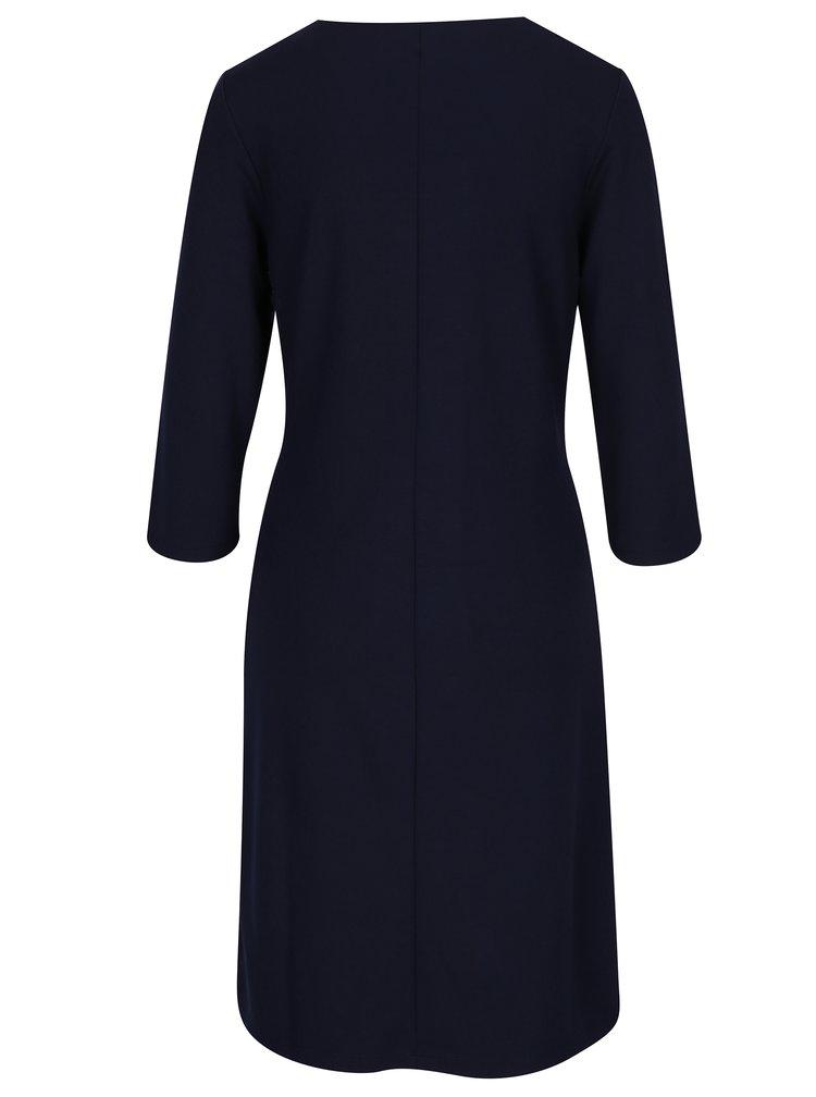 Tmavě modré šaty s véčkovým výstřihem a 3/4 rukávem GANT