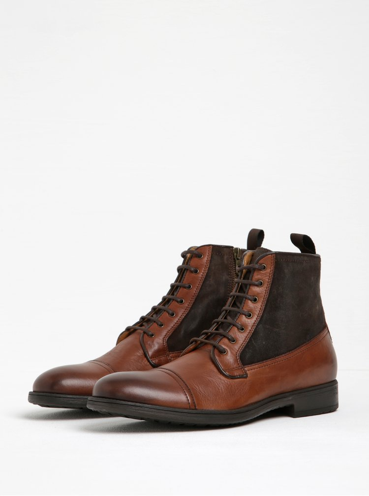 Hnědé pánské kožené kotníkové boty Geox Jaylon
