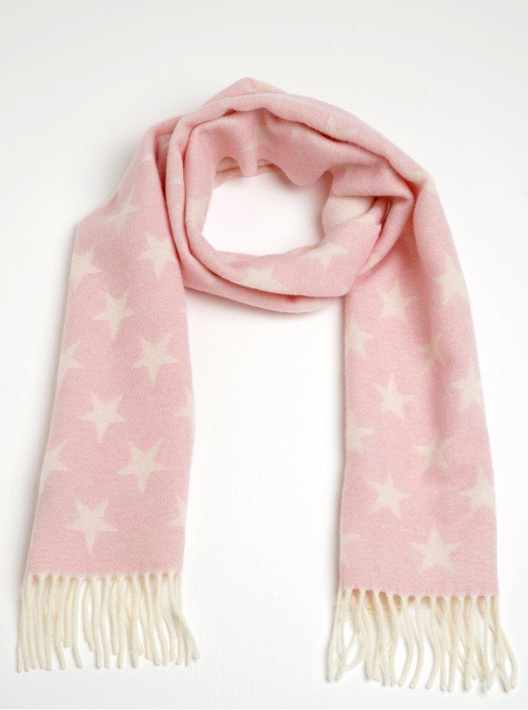 Světle růžová dámská vlněná šála s motivem hvězd GANT
