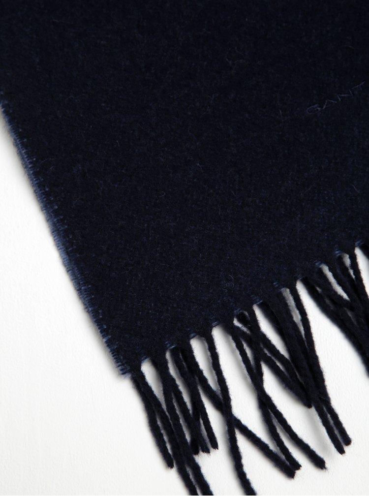 Tmavě modrá dámská vlněná šála s třásněmi GANT