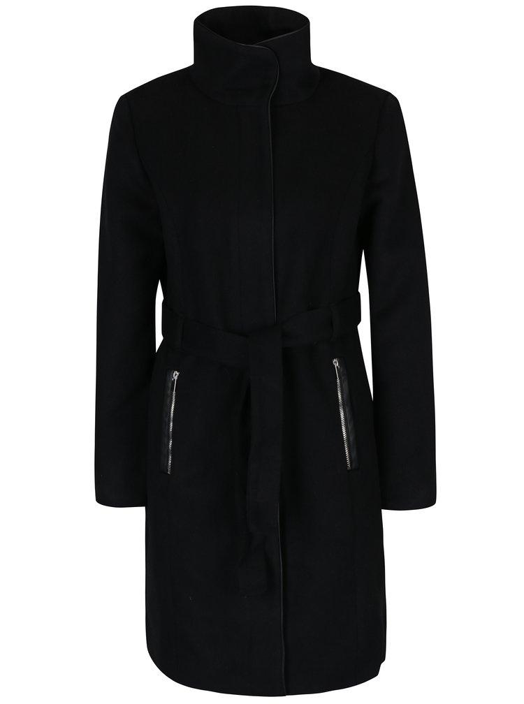 Černý kabát s příměsí vlny VERO MODA Prato