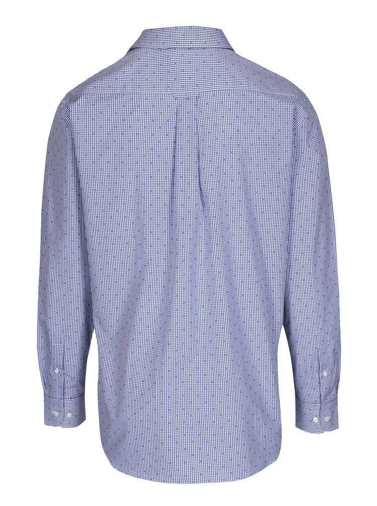 Tmavě modrá pánská formální kostkovaná regular fit košile GANT